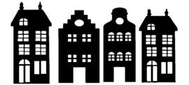 Raamsticker huisjes klein