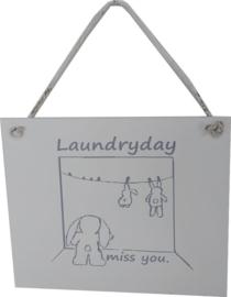 Houten bordje Laundry