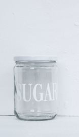 Glazen pot met deksel SUGAR wit