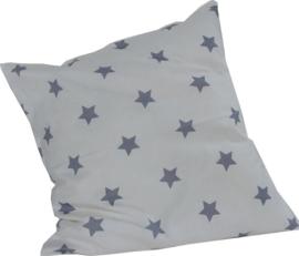 Kussen 50 x 50 sterren wit met blgrijze sterren