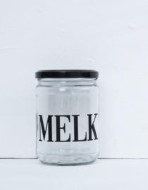 Glazen pot met deksel MELK zwart
