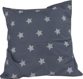 Kussen 50 x 50 sterren blauwgrijs met witte sterren