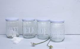 Glazen pot met deksel MELK wit