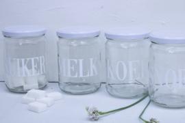 Glazen pot met deksel SNOEP wit