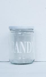 Glazen pot met deksel CANDY wit