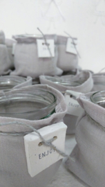 Windlichtje stonewashed linnen enjoy grijs