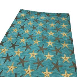 Turquoise tafelloper Starfish (zeesterren) 45x140cm
