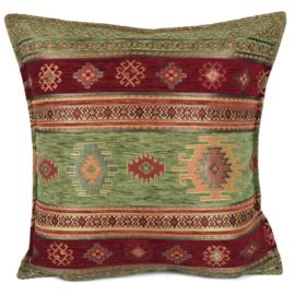 Olijf groen en rood kussen - Aztec ± 45x45cm