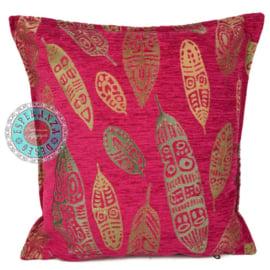 Hard roze kussen - Boho Feathers ± 45x45cm