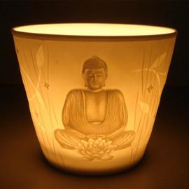 Sfeerlicht votief porselein Boeddha 8,5 x 7,2 cm
