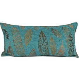 Turquoise kussen - Boho Feathers ± 30x60cm
