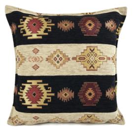 Zwart met creme kussen Aztec stripes ± 45x45cm