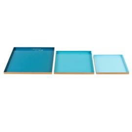 Set metalen borden in de kleur petrol, turquoise en licht blauw 20x20x2cm, 25x25x2cm, 30x30x2cm