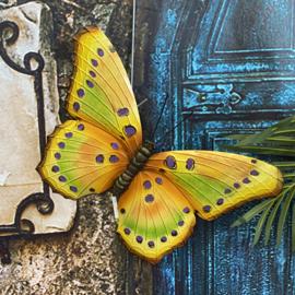 Wand decoratie gele metaal vlinder 45cm x 30cm
