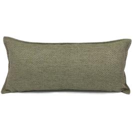 Esperanza Deseo ® kussen - Linnen meubelstof met grote lus - Taupe met olijfgroen ± 30x60cm