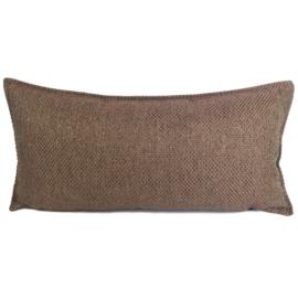 Esperanza Deseo ® kussen - Linnen meubelstof met grote lus - Brons met koraal ± 30x60cm