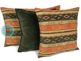 Legergroen kussen - Mediterraan oranje en oker ± 70x70cm