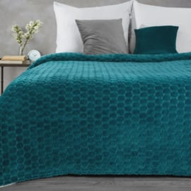 Petrolblauwe fleece plaid met 3d patroon rondjes 150x200cm