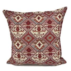 Esperanza Deseo ® kussen - Tribal,  roze, creme, rood en grijs ± 70x70cm