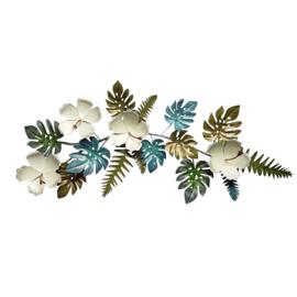 Metalen wanddecoratie tropical  76x33x5cm