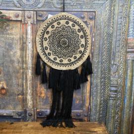 "Wanddecoratie ""jute"" Mandala zwart 100cm lang (dia 40cm)"