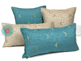 Turquoise kussen - Stars and moons ± 50x70cm