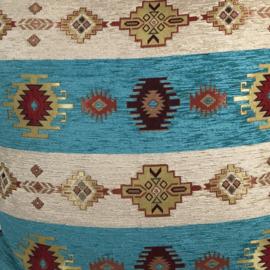 Stof Aztec stripes turquoise blauw groen met crème per meter (140cm breed)