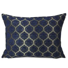 Donkerblauw kussen - Honingraat brons motief ± 50x70cm