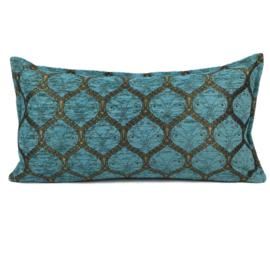 Turquoise kussen - Honingraat met goud patroon ± 30x60cm