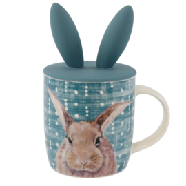 Porseleinen beker met konijn afbeelding met deksel van siliconen