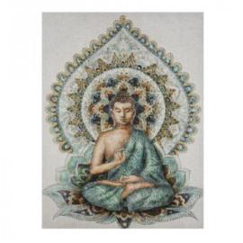 Boeddha op canvas 58cm x 78cm afgewerkt met stenen