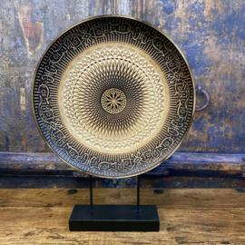 Decoratie bord op standaard dia 30cm (hout) totale hoogte 41cm