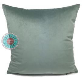 Velvet jade groen kussen passend bij veren/bladeren kussen ± 45x45cm