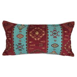 Esperanza Deseo ® kussen - Navajo, turquoise en rood ± 30x60cm