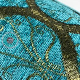 Turquoise kussen - Honingraat licht turquoise en goud ± 45x45cm