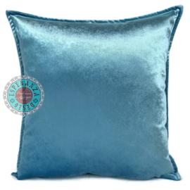 Turquoise velvet kussen - Peacock ± 45x45cm