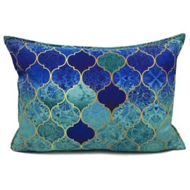 Turquoise kussen - Orient turquoise, mint en kobaltblauw ± 50x70cm