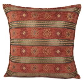 Brick oranje kussen - Peru stripes ± 45x45cm
