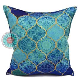 Turquoise kussen - Orient turquoise, mint en kobaltblauw ± 45x45cm