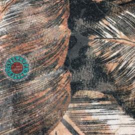 Cognac oranje kussen met mooie veren/bladeren print ± 45x45cm