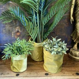 Velvet plantenzak goudkleur 14,5cm