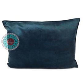 Velvet kussen donker petrol blauw (10021) ± 50x70cm
