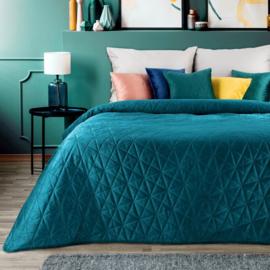 Donker turquoise bedsprei/plaid 170x210cm met twee bijpassende kussenhoezen 40x40cm