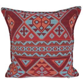 Esperanza Deseo ® kussen - Native, turquoise rood en oranje ± 45x45cm