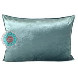 Jade grijs velvet kussen - Peacock ± 50x70cm
