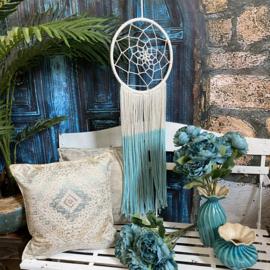 Mooie wit met turquoise dromenvanger  macrame 102cm x 32cm (Fairtrade)