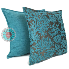 Turquoise kussen - Koraal takken ± 45x45cm