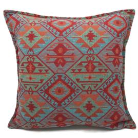 Esperanza Deseo ® kussen - Tribal, turquoise rood oranje mintgroen ± 45x45cm