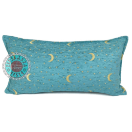 Turquoise kussen - Stars and moons ± 30x60cm