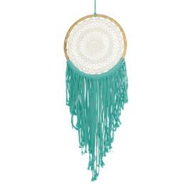 Dreamcatcher macrame creme met turquoise groen 97x33x0,5cm